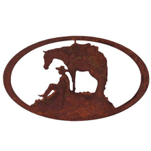 Horse and Cowboy Oval - natural rust patina - metal wall art - #7055inc