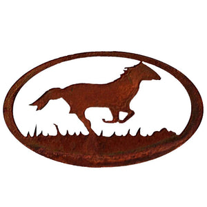 Horse Oval - natural rust patina - metal wall art - #7055inc