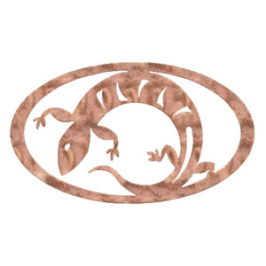 Lizard Oval Rustic Southwestern Metal Wall Art