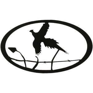 Pheasant Oval - hammered black - metal art - #7055inc