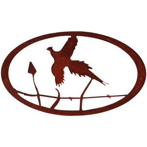Pheasant Oval - natural rust patina - metal art - #7055inc
