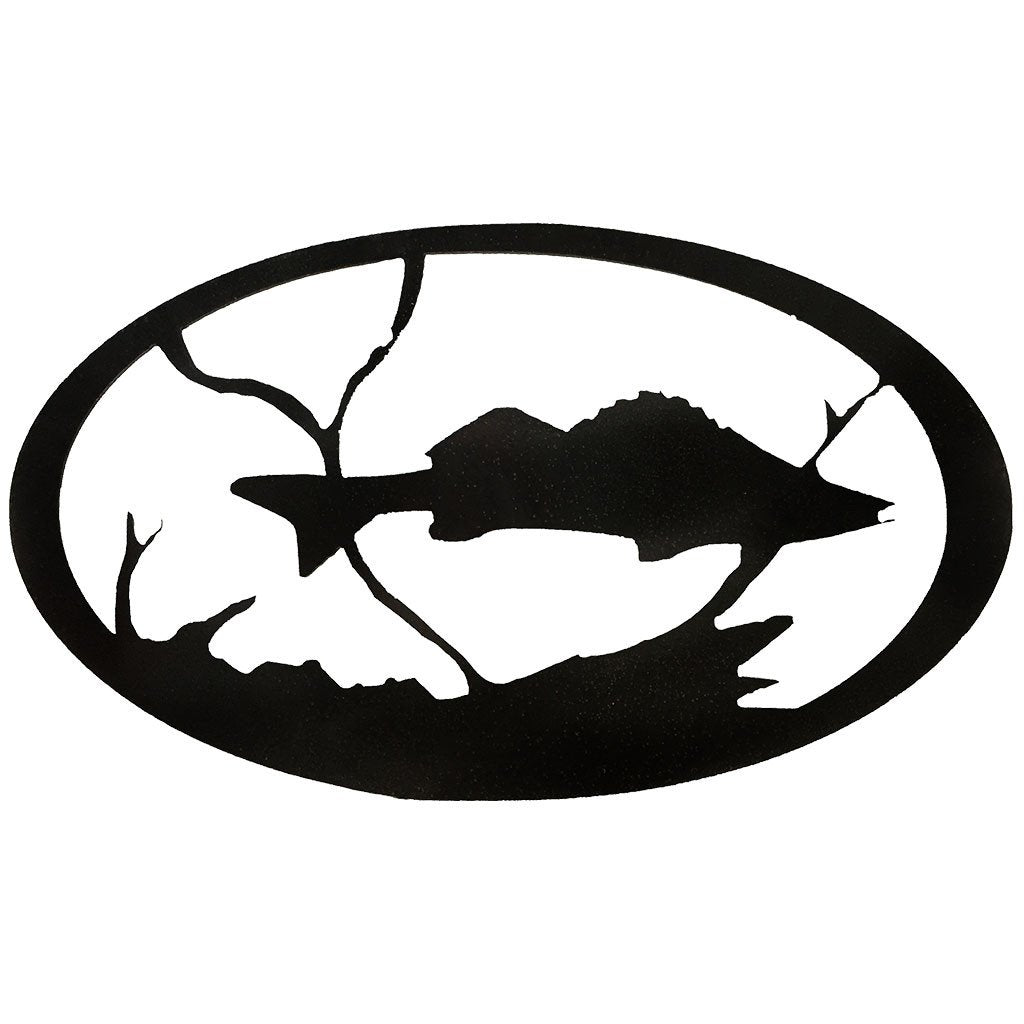 Walleye Oval - hammered black - metal art - #7055inc