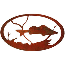 Walleye Oval - natural rust patina - metal art - #7055inc