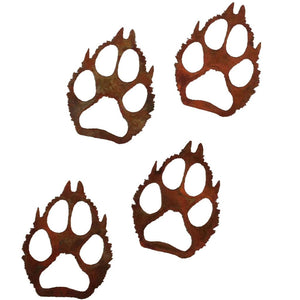 Wolf Paw Prints - Natural Rust Patina - metal decor - #7055inc