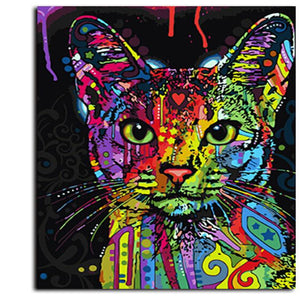Rainbow Cat Paint by Numbers Canvas Wall Art Painting Kit