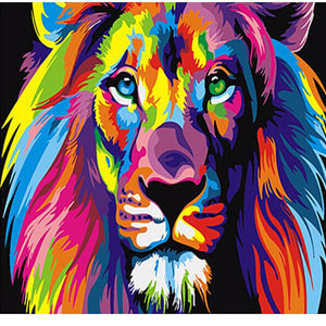 Rainbow Lion Paint by Numbers Adult Canvas Wall Art Painting Kit