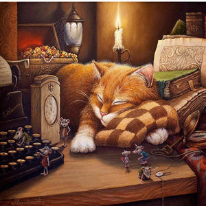 Sleeping Cat Paint by Numbers Canvas Wall Art Painting Kit