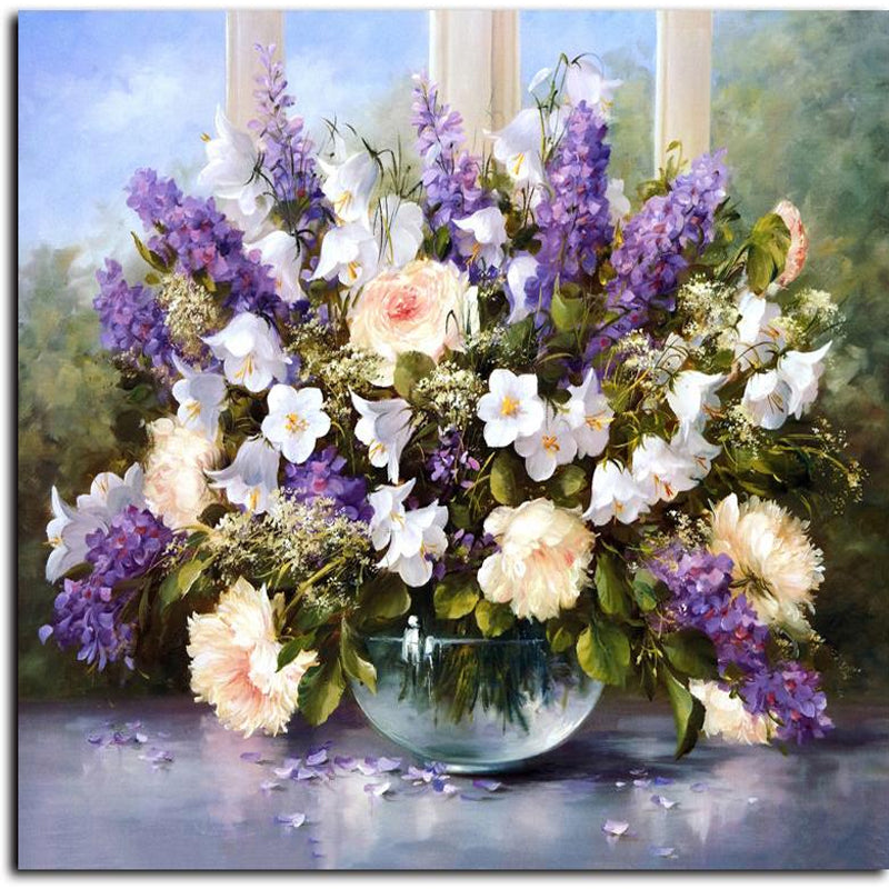 Flower Bouquet Paint by Numbers Canvas Wall Art Painting Kit