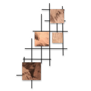 Satellite - squares - metal wall decor - polished copper - #7055inc