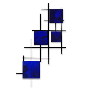 Satellite - squares - metal wall art - candy blue - #7055inc