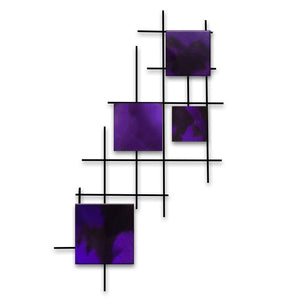 Satellite - squares - metal wall art - candy purple - #7055inc