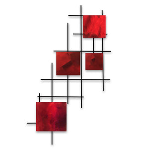 Satellite - squares - metal wall art - candy red - #7055inc
