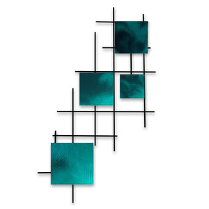 Satellite - squares - metal wall art - candy teal - #7055inc