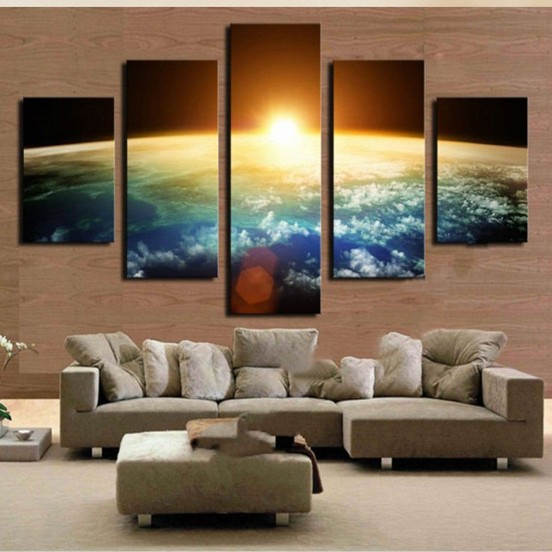 Sun Rising Over Earth 5 piece HQ Canvas Wall Art Print - Limited Edition