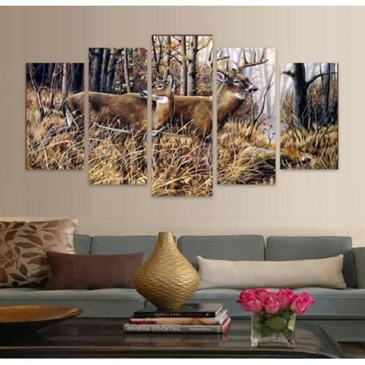 Whitetail Deer Buck And Doe 5 Piece Hq Canvas Wall Art