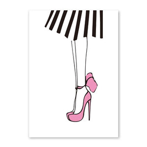 Lady Black Lip High Heel Wall Canvas Print