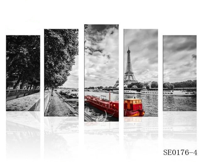 Scenery Paris Eiffel Tower Canvas Print 5 Pieces