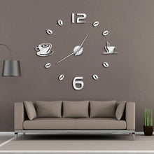 "Coffee Mug Coffee Bean Wall Clock 37"" 47"""