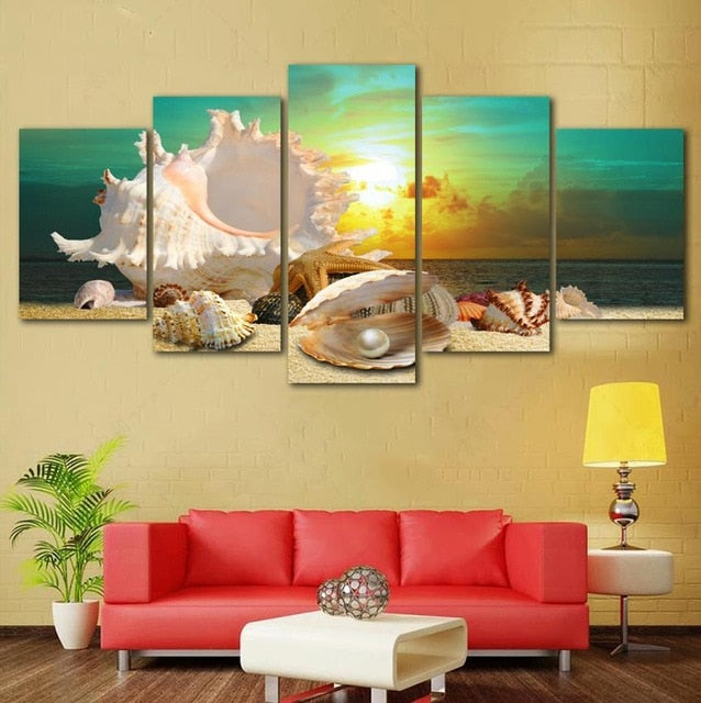 Blue Beach Sea Shell Canvas Print 5 Pieces