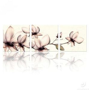 Orchid Modern Flowers 3 Panel Wall Art Canvas Print