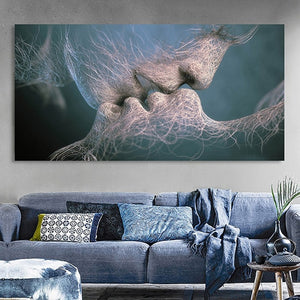 Black Love Kiss Canvas Print