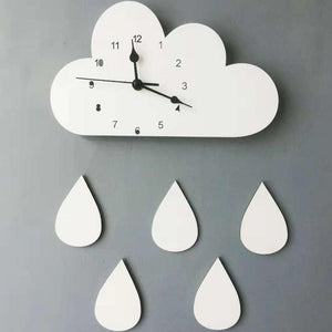 Wooden Cloud Raindrop Wall Clock