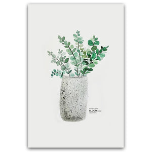 Watercolor Vase Green Plant Canvas Print