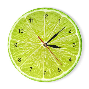 Yellow Lemon Fruit Wall Clock