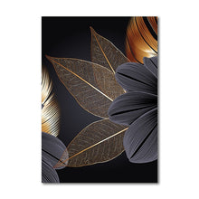 Black Golden Plant Leaf Canvas Print