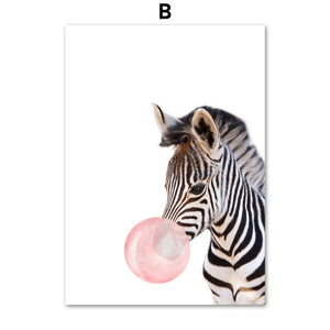 Elephant Zebra Giraffe Raccoon Balloon Animals Canvas Print