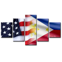 USA and Philippine Flag Canvas Print 5 Pieces