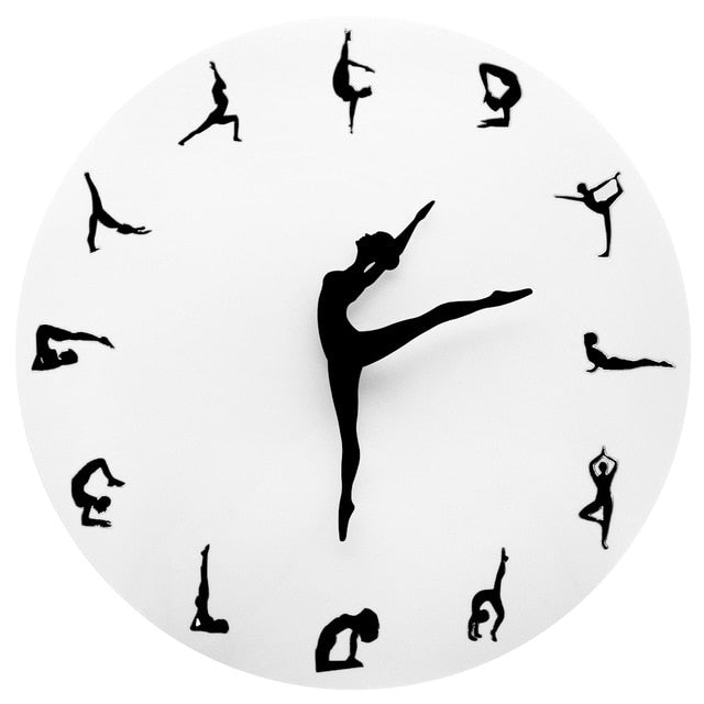 Yoga Gym Round Wall Clock