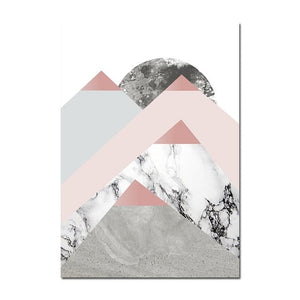 Geometric Marble Polygon Abstract Minimalist Wall Art Canvas Prints