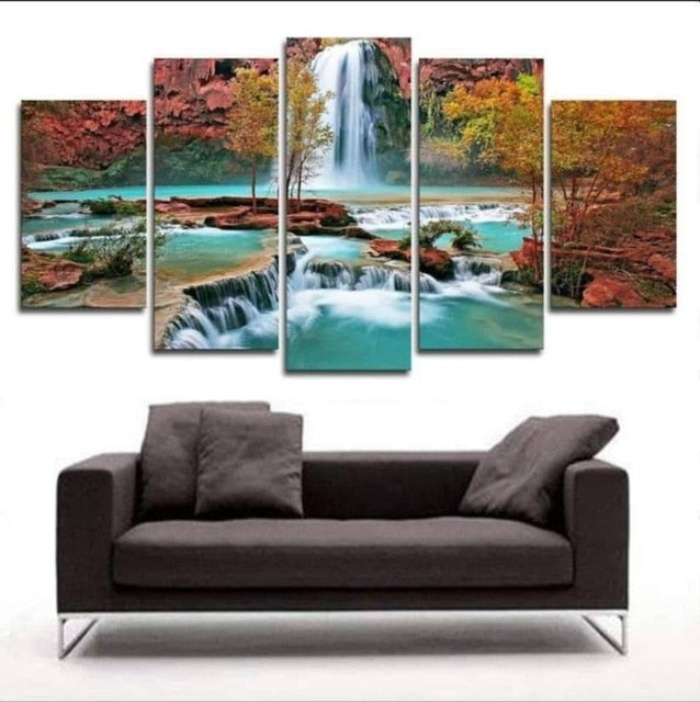 Waterfall Canvas Print 5 Pieces Canvas Frenzy