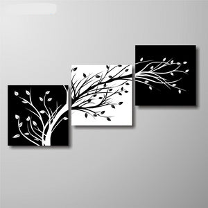Black and White Leaves on Branches Canvas Print 3 Panel