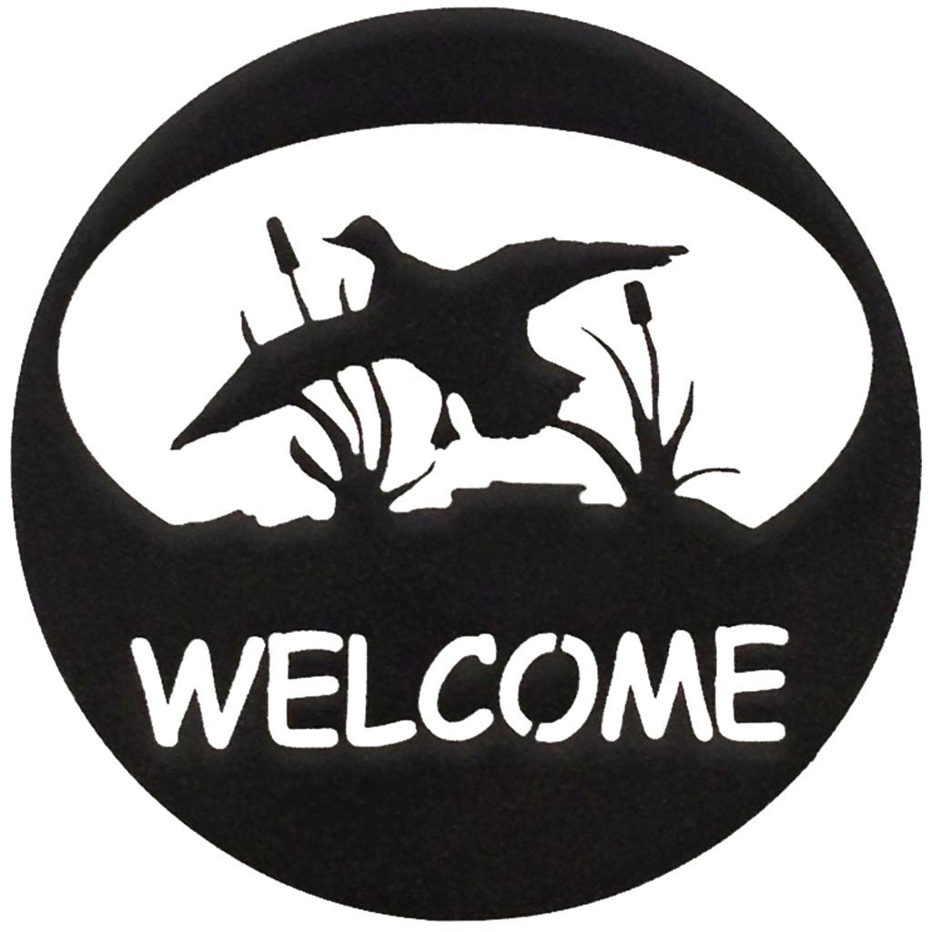 Duck Welcome Circle - hammered black - metal art - #7055inc