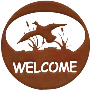 Duck Welcome Circle - natural rust patina - metal art - #7055inc