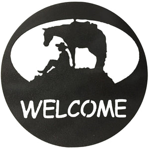 Horse & Cowboy Welcome Circle - hammered black-metal art-#7055inc