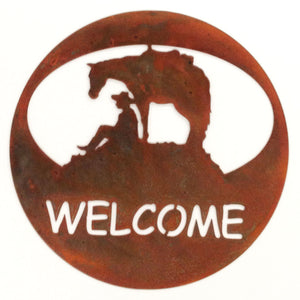 Horse & Cowboy Welcome Circle - natural rust patina - metal art-#7055inc