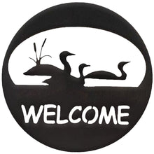 Loon Welcome Circle hammered black - metal art - #7055inc