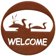 Loon Welcome Circle - natural rust patina - metal art - #7055inc