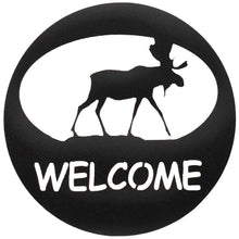 Moose Welcome Circle - hammered black - metal art - #7055inc