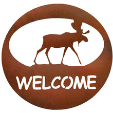Moose Welcome Circle - natural rust patina - metal art - #7055inc