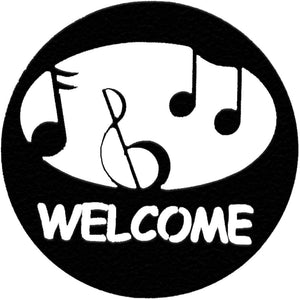 hammered-black-metal-music-welcome-circle-#7055inc