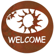 Sun Welcome Circle - natural rust patina - metal art - #7055inc