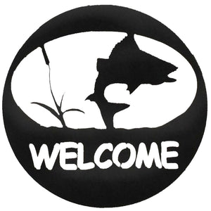 Turning Fish Welcome Sign - hammered black - metal art - #7055inc