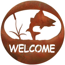 Turning Fish Welcome Circle - natural rust patina - metal art - #7055inc