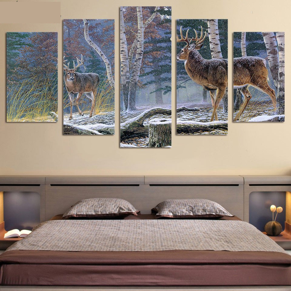 Whitetail Deer Big Buck Standoff 5 piece HQ Canvas Wall Art Print - Limited Edition