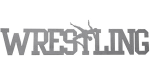 Wrestling word - hammered silver - #7055inc