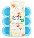 Baby Food Storage by Mushy Mushy, 9 Easy To Remove Pots, Durable Silicone Freezer Trays with Recipe eBook, Great Container for weaning, Lifetime Guarantee (Blue)